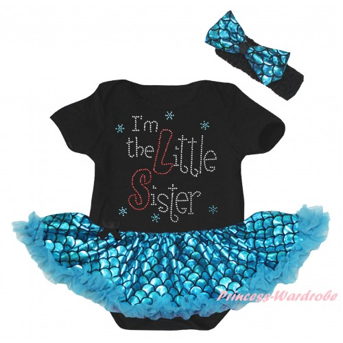 Black Baby Jumpsuit Blue Scale Pettiskirt & Sparkle Rhinestone I'm The Little Sister Print JS6561