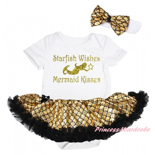White Baby Jumpsuit Gold Scale Pettiskirt & Sparkle Gold Starfish Wishes Mermaid Kisses Painting JS6566