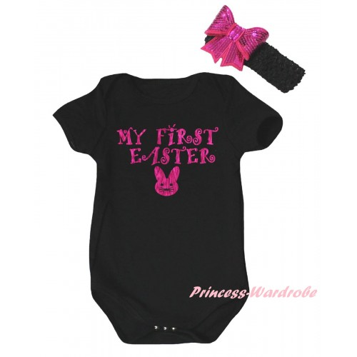 Easter Black Baby Jumpsuit & Sparkle Hot Pink My First Easter Bunny Painting & Black Headband Hot Pink Bow TH895