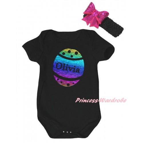 Easter Black Baby Jumpsuit & Sparkle Rainbow Olivia Easter Egg Painting & Black Headband Hot Pink Bow TH896