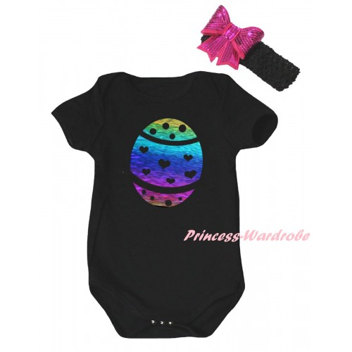 Easter Black Baby Jumpsuit & Sparkle Rainbow Easter Egg Painting & Black Headband Hot Pink Bow TH897