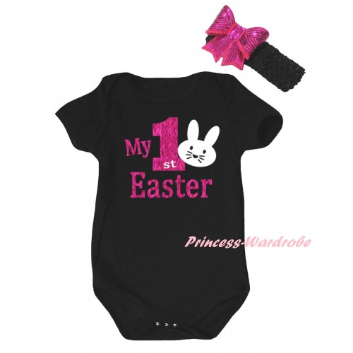 Easter Black Baby Jumpsuit & Sparkle Hot Pink My 1st Easter White Bunny Painting & Black Headband Hot Pink Bow TH898