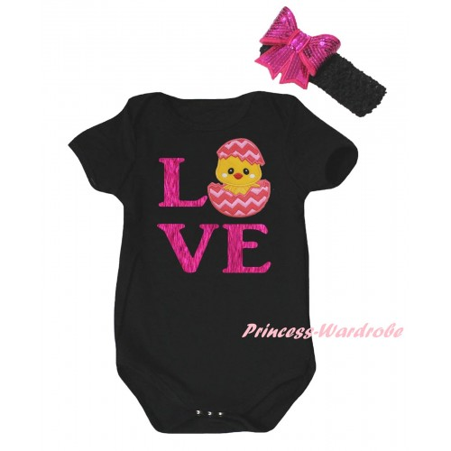 Easter Black Baby Jumpsuit & Sparkle Hot Pink Love Chick Egg Print & Black Headband Hot Pink Bow TH900