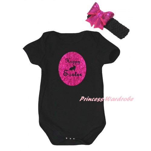 Easter Black Baby Jumpsuit & Sparkle Hot Pink Happy Easter Rabbit Painting & Black Headband Hot Pink Bow TH901