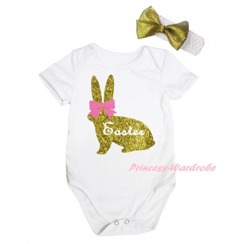 Easter White Baby Jumpsuit & Pink Bow Sparkle Gold Easter Rabbit Painting & White Headband Gold Bow TH903