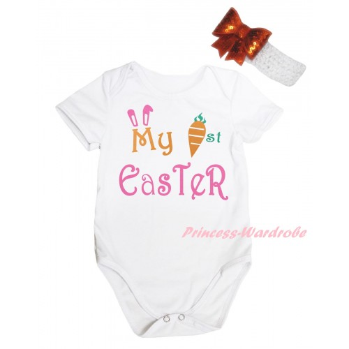 Easter White Baby Jumpsuit & My 1st Easter Painting & White Headband Orange Bow TH904