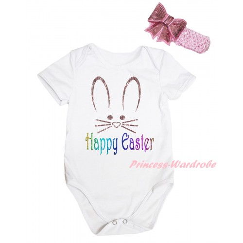 Easter White Baby Jumpsuit & Sparkle Happy Easter Bunny Face Painting & Pink Headband Bow TH905