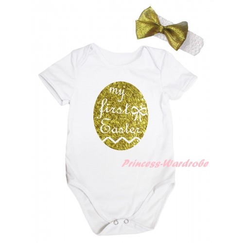 Easter White Baby Jumpsuit & Sparkle Gold My First Easter Painting & White Headband Gold Bow TH906