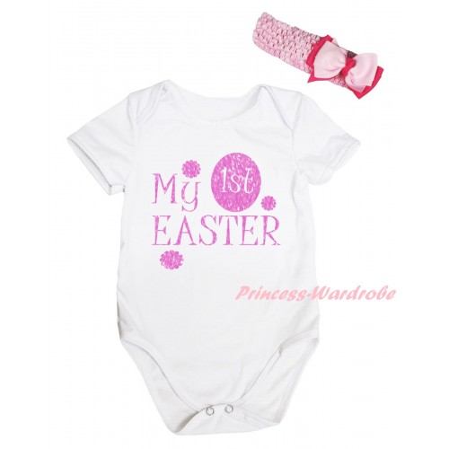 Easter White Baby Jumpsuit & Sparkle Pink My 1st Easter Painting & Pink Headband Bow TH907