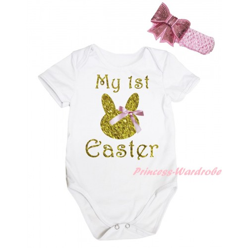 Easter White Baby Jumpsuit & Sparkle Gold My 1st Easter Pink Bow Bunny Painting & Pink Headband Bow TH908