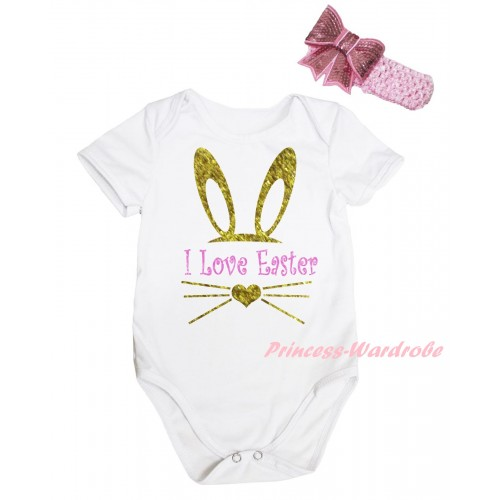 Easter White Baby Jumpsuit & Sparkle I Love Easter Painting & Pink Headband Bow TH909
