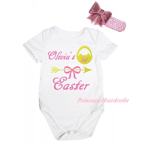 Easter White Baby Jumpsuit & Olivia's 1st Easter Painting & Pink Headband Bow TH910