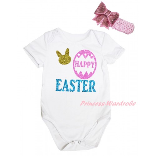 Easter White Baby Jumpsuit & Sparkle Happy Easter Painting & Pink Headband Bow TH911