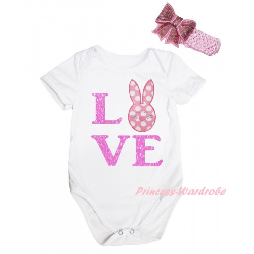 Easter White Baby Jumpsuit & Sparkle Pink Love Polka Dots Bunny Print & Pink Headband Bow TH912