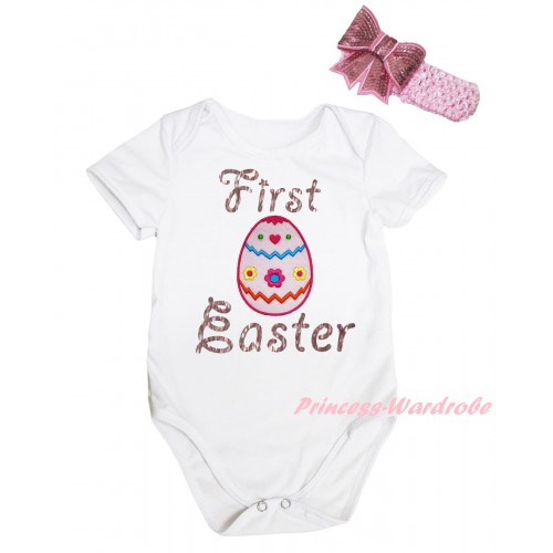 Easter White Baby Jumpsuit & Sparkle Pink First Easter Floral Egg Print & Pink Headband Bow TH913