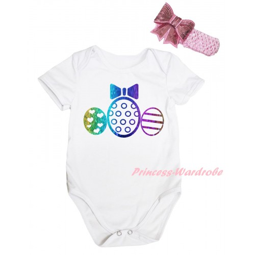 Easter White Baby Jumpsuit & Sparkle Rainbow Easter Egg Painting & Pink Headband Bow TH914