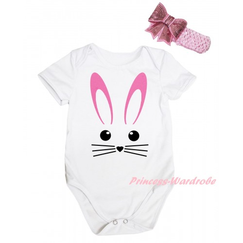 Easter White Baby Jumpsuit & Easter Bunny Face Painting & Pink Headband Bow TH915