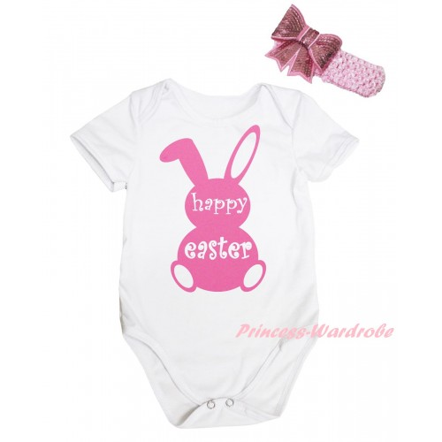 Easter White Baby Jumpsuit & Pink Happy Easter Rabbit Painting & Pink Headband Bow TH916