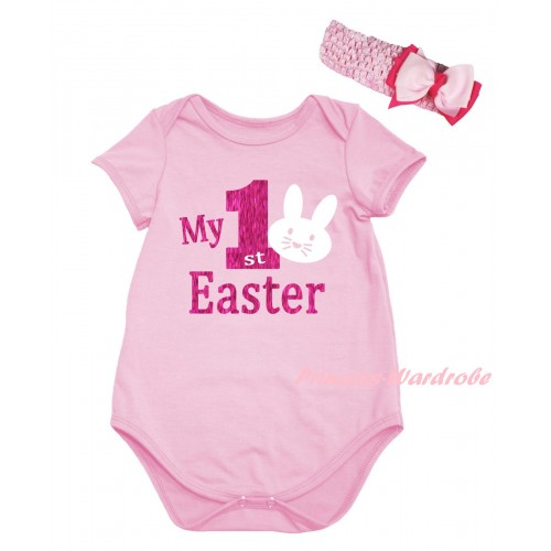Easter Light Pink Baby Jumpsuit & Sparkle Hot Pink My 1st Easter White Bunny Painting & Light Pink Headband Bow TH917