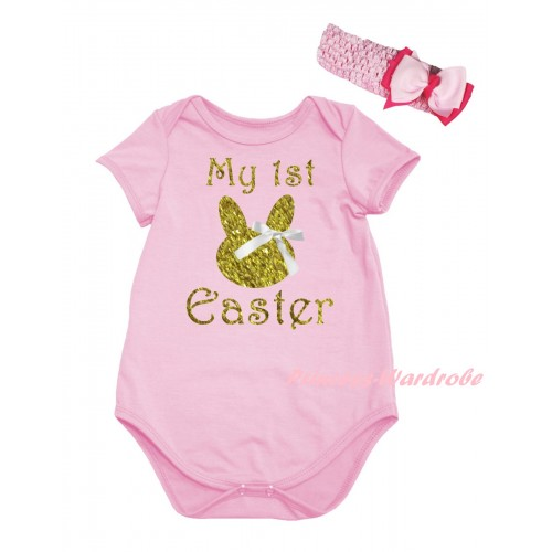 Easter Light Pink Baby Jumpsuit & Sparkle Gold My 1st Easter White Bow Bunny Painting & Light Pink Headband Bow TH918