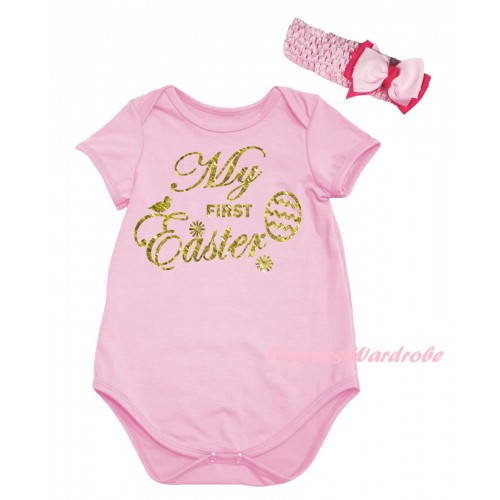 Easter Light Pink Baby Jumpsuit & Sparkle Gold My First Easter Painting & Light Pink Headband Bow TH919