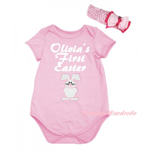 Easter Light Pink Baby Jumpsuit & White Olivia's First Easter White Bunny Print & Light Pink Headband Bow TH920