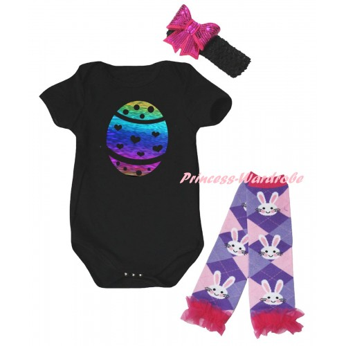 Easter Black Baby Jumpsuit & Sparkle Rainbow Easter Egg Painting & Black Headband Hot Pink Bow & Light Pink Ruffles Rabbit Leg Warmer Set TH922