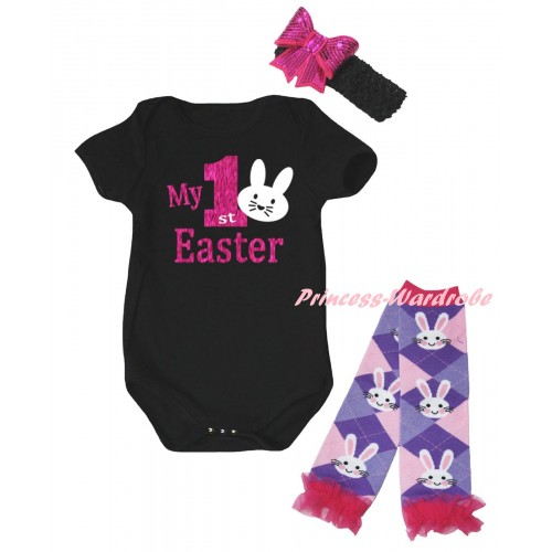 Easter Black Baby Jumpsuit & Sparkle Hot Pink My 1st Easter White Bunny Painting & Black Headband Hot Pink Bow & Light Pink Ruffles Rabbit Leg Warmer Set TH923