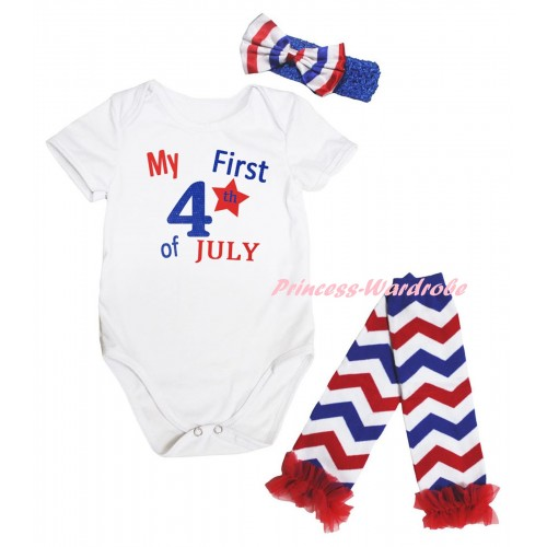 American's Birthday White Baby Jumpsuit & My First 4th Of July Painting & Blue Headband Bow & Red Ruffles Red White Blue Wave Leg Warmer Set TH925