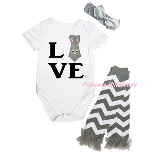 Easter White Baby Jumpsuit & Black Love Bunny Tie Print & Grey Headband Bow & Grey Ruffles Grey White Wave Leg Warmer Set TH932