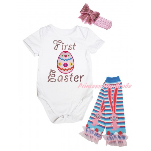 Easter White Baby Jumpsuit & Sparkle Pink First Easter Floral Egg Print & Pink Headband Bow & Pink Ruffles Rabbit Leg Warmer Set TH933