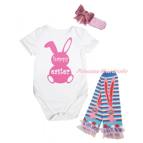 Easter White Baby Jumpsuit & Pink Happy Easter Rabbit Painting & Pink Headband Bow & Pink Ruffles Rabbit Leg Warmer Set TH934