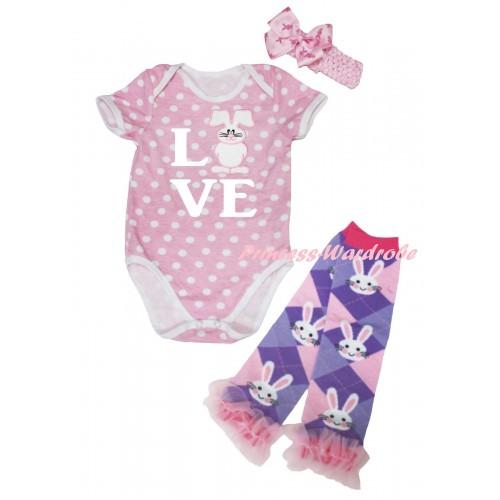 Easter Light Pink White Dots Baby Jumpsuit & White Love White Bunny Print & Light Pink Headband Rabbit Bow & Light Pink Ruffles Rabbit Leg Warmer Set TH935