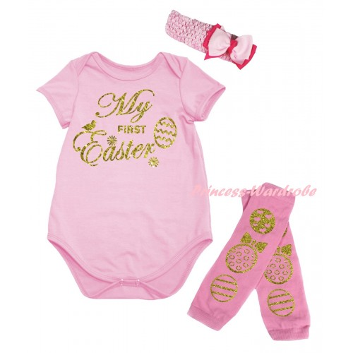 Easter Light Pink Baby Jumpsuit & Sparkle Gold My First Easter Painting & Light Pink Headband Bow & Light Pink Gold Easter Eggs Leg Warmer Set TH936