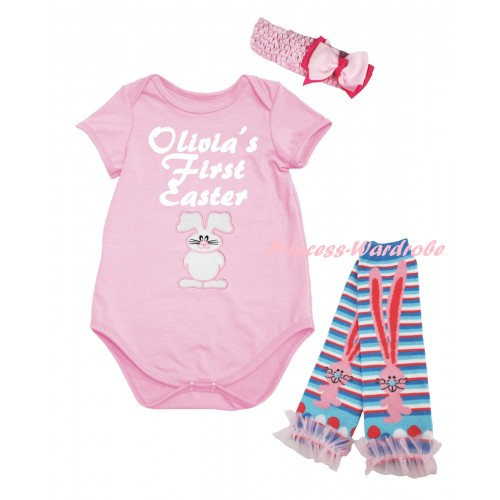 Easter Light Pink Baby Jumpsuit & White Olivia's First Easter White Bunny Print & Light Pink Headband Bow & Pink Ruffles Rabbit Leg Warmer Set TH937
