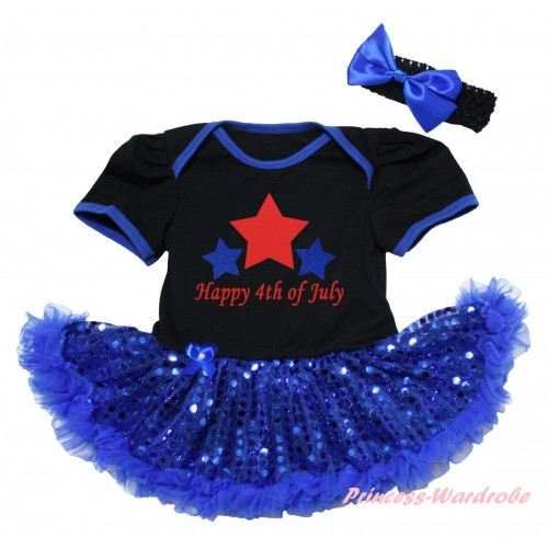 American's Birthday Black Baby Bodysuit Jumpsuit Bling Royal Blue Sequins Pettiskirt & Happy 4th Of July Painting JS6572