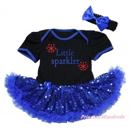 American's Birthday Black Baby Bodysuit Jumpsuit Bling Royal Blue Sequins Pettiskirt & Little Sparkler Painting JS6577