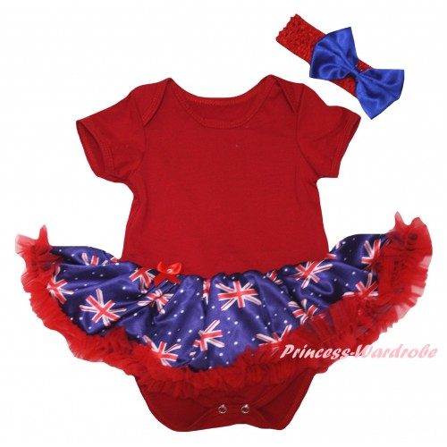 American's Birthday Red Baby Bodysuit Jumpsuit Red Patriotic British Pettiskirt JS6583