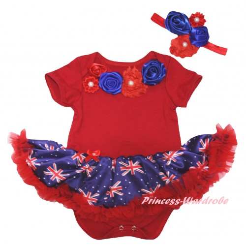 American's Birthday Red Baby Bodysuit Jumpsuit Red Patriotic British Pettiskirt & Red Royal Blue Vintage Garden Rosettes Lacing JS6584