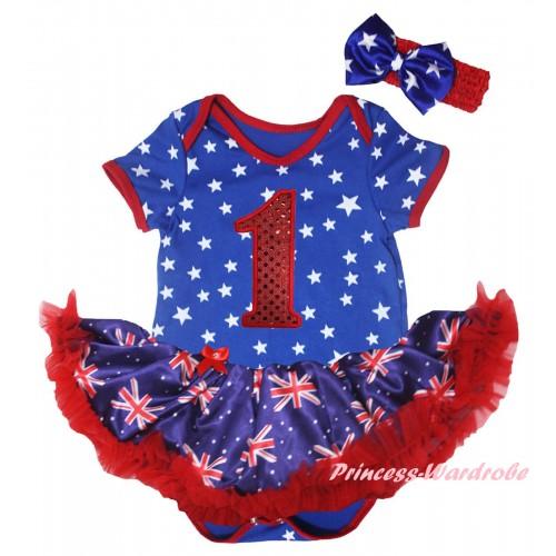 American's Birthday Royal Blue White Star Baby Bodysuit Jumpsuit Red Patriotic British Pettiskirt & 1st Sparkle Red Birthday Number Print JS6586