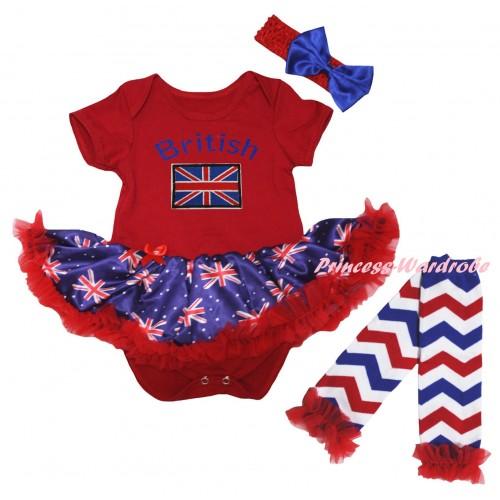 American's Birthday Red Baby Bodysuit Jumpsuit Red Patriotic British Pettiskirt & British Flag Print & Warmers Leggings JS6594