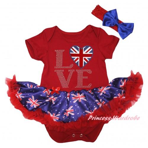 American's Birthday Red Baby Bodysuit Jumpsuit Red Patriotic British Pettiskirt & Love British Heart Print JS6595