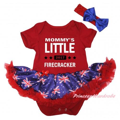 American's Birthday Red Baby Bodysuit Jumpsuit Red Patriotic British Pettiskirt & Mommy's Little 2017 Firecracker Painting JS6596