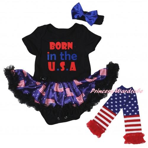 American's Birthday Black Baby Bodysuit Jumpsuit Black Patriotic American Pettiskirt & Born In The U.S.A Painting & Warmers Leggings JS6613