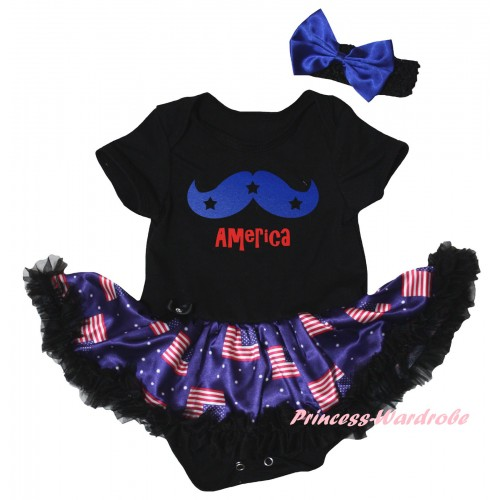 American's Birthday Black Baby Bodysuit Jumpsuit Black Patriotic American Pettiskirt & Blue Moustache With Red America Painting JS6618