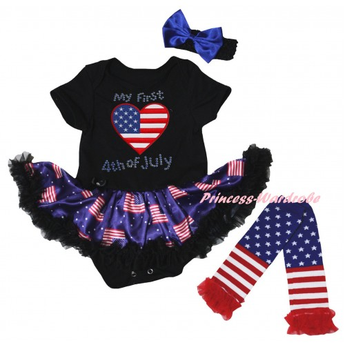 American's Birthday Black Baby Bodysuit Jumpsuit Black Patriotic American Pettiskirt & Rhinestone My First American Heart 4th Of July Print & Warmers Leggings JS6620