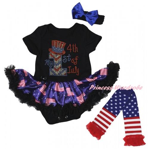 American's Birthday Black Baby Bodysuit Jumpsuit Black Patriotic American Pettiskirt & Sparkle Rhinestone My 1st American 4th Of July Print & Warmers Leggings JS6622