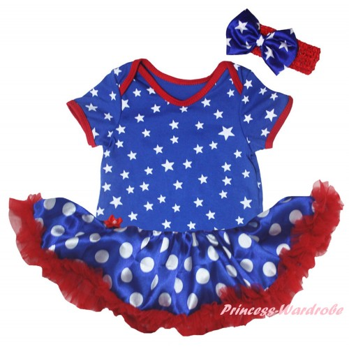 American's Birthday Royal Blue White Star Baby Bodysuit Jumpsuit Royal Blue White Dots Pettiskirt JS6638