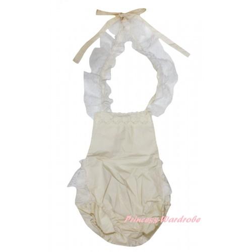 Cream White Backless Lace Sunsuit Romper LR201
