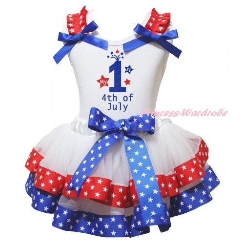 American's Birthday White Pettitop Red White Star Ruffles Royal Blue Bow & My 1st 4th Of July Painting & Royal Blue Red White Star Trimmed Pettiskirt MG2982